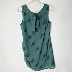 BOGO CAbi Blue-Green Floral Blouse